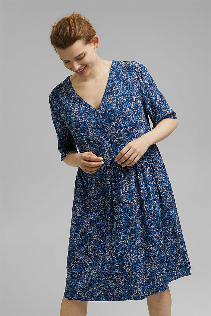 Millefleurs-Kleid aus LENZING™ ECOVERO™, NAVY, detail image number 5