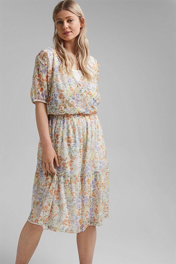CURVY Mesh-Kleid mit Volant und Print