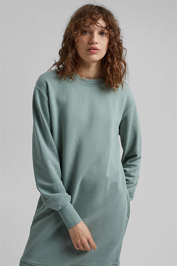 Sweatshirt dress in 100% cotton, TURQUOISE, detail image number 0