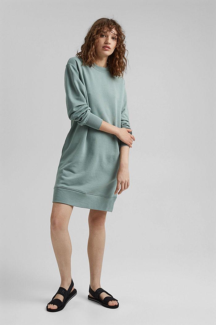 Sweatshirt dress in 100% cotton, TURQUOISE, detail image number 1