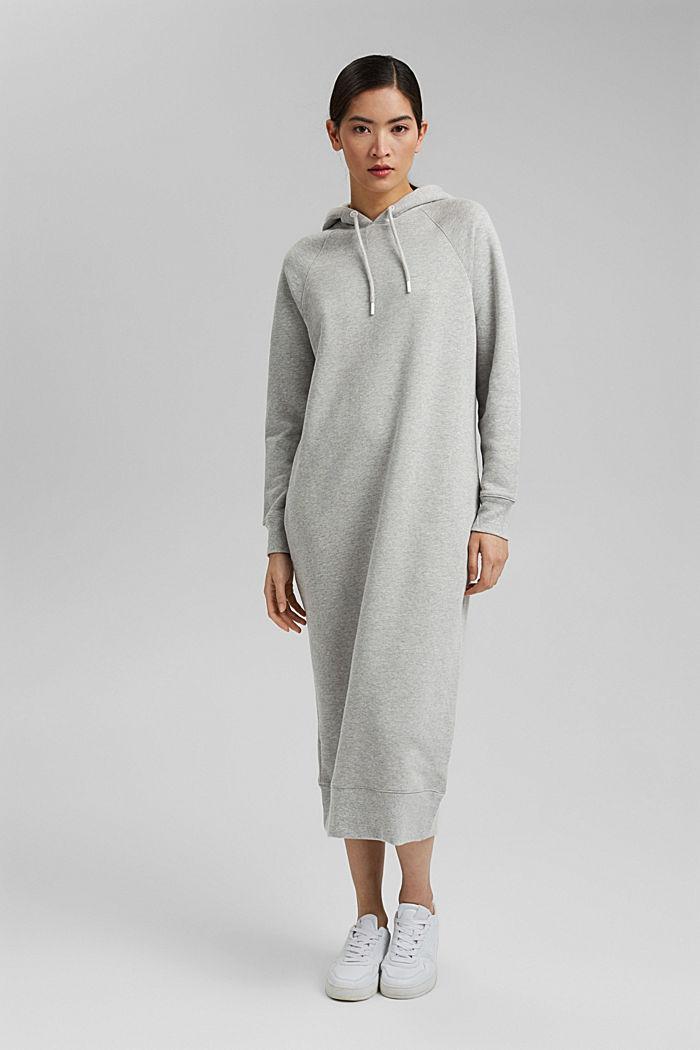 Sweatkleid in Midilänge aus Baumwolle, LIGHT GREY, detail image number 1