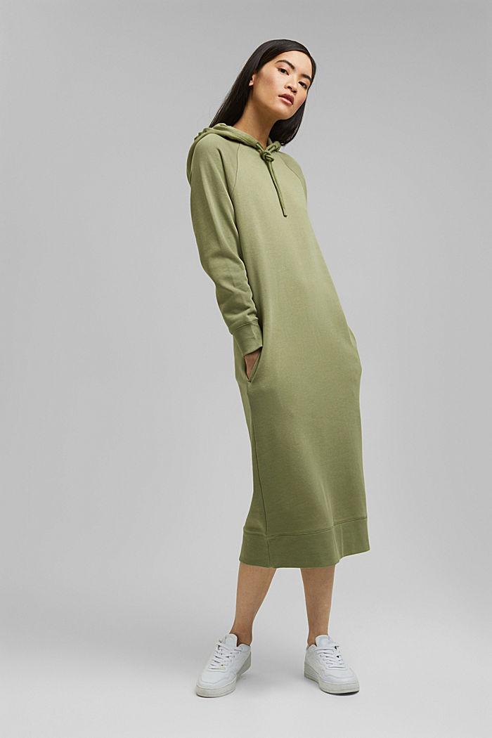 Sweatkleid in Midilänge aus Baumwolle, LIGHT KHAKI, detail image number 0