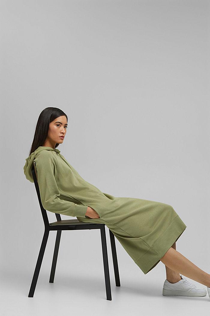 Sweatkleid in Midilänge aus Baumwolle, LIGHT KHAKI, detail image number 5