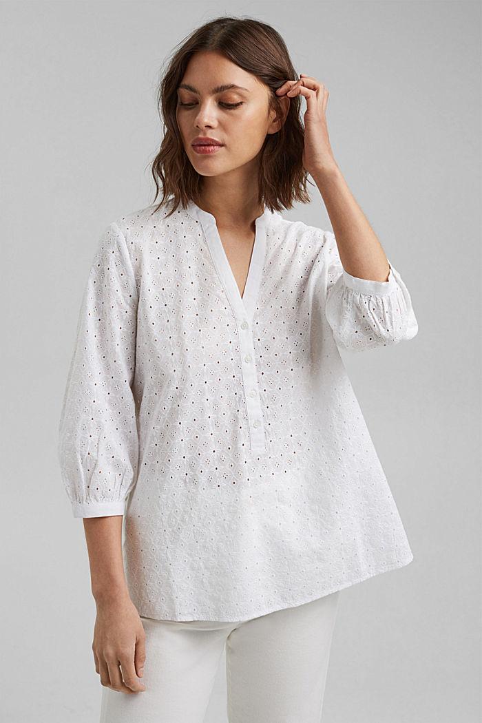 Bluse mit Lochstickerei, Organic Cotton, WHITE, detail image number 0