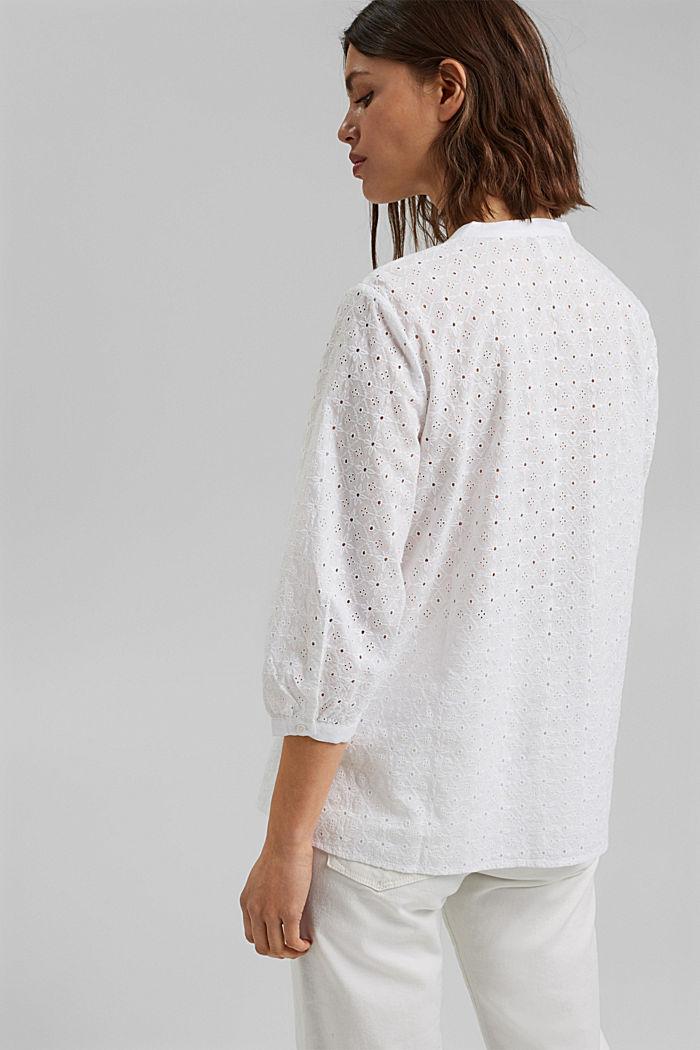 Bluse mit Lochstickerei, Organic Cotton, WHITE, detail image number 3