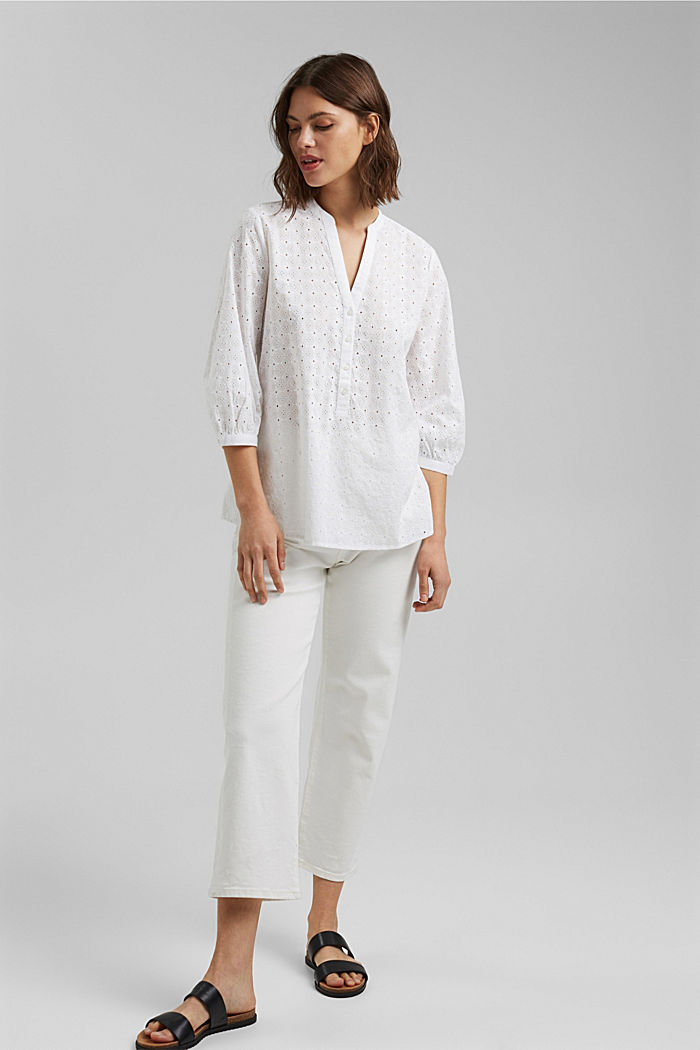 Bluse mit Lochstickerei, Organic Cotton, WHITE, detail image number 1