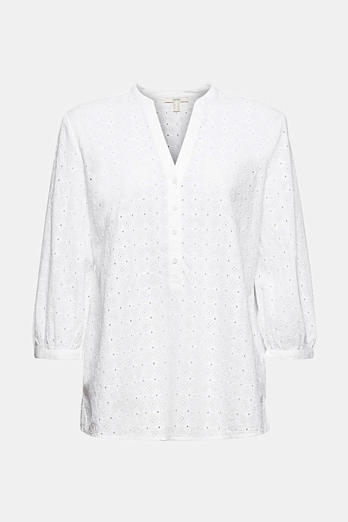 Blouse with broderie anglaise, organic cotton