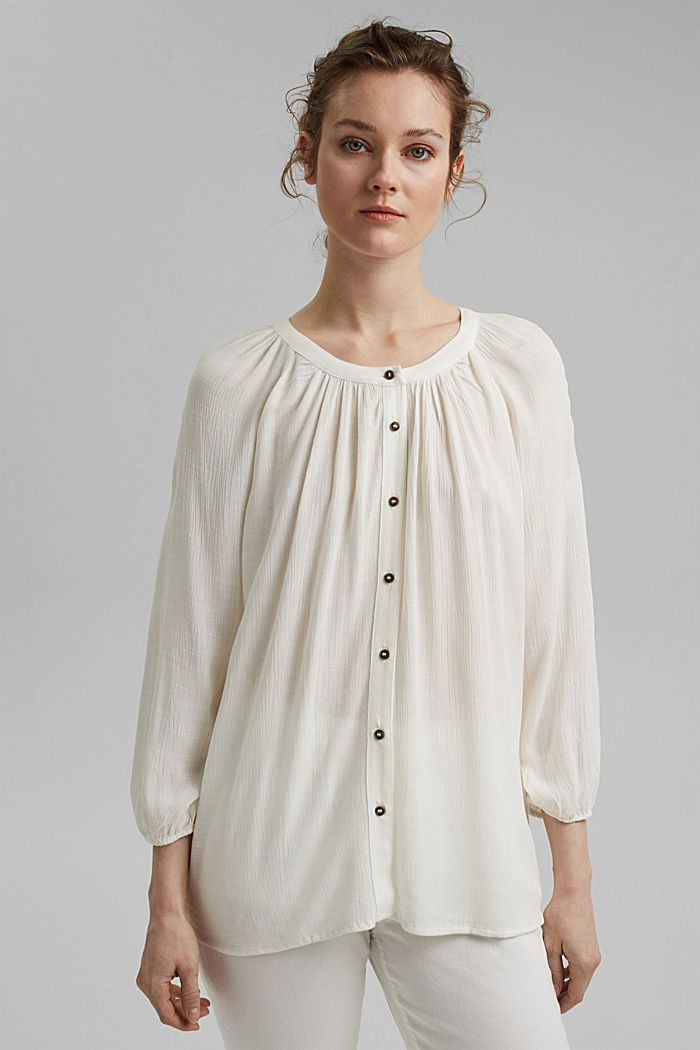 Crinkle blouse made of LENZING™ ECOVERO™, OFF WHITE, detail image number 0