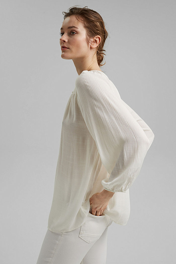 Crinkle blouse made of LENZING™ ECOVERO™, OFF WHITE, detail image number 3
