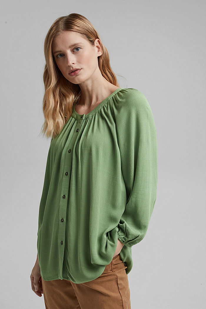 Crinkle blouse made of LENZING™ ECOVERO™, LEAF GREEN, detail image number 0
