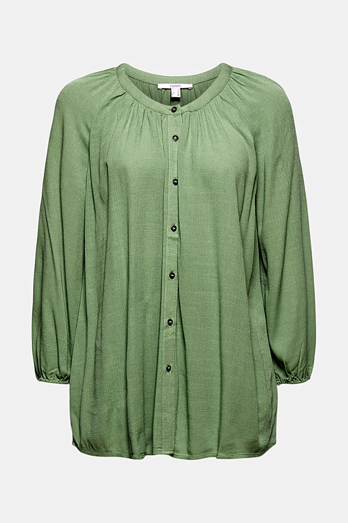 Crinkle blouse made of LENZING™ ECOVERO™, LEAF GREEN, detail image number 6