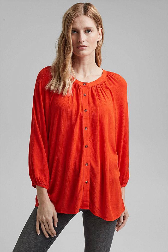 Crinkle blouse made of LENZING™ ECOVERO™, ORANGE RED, detail image number 0