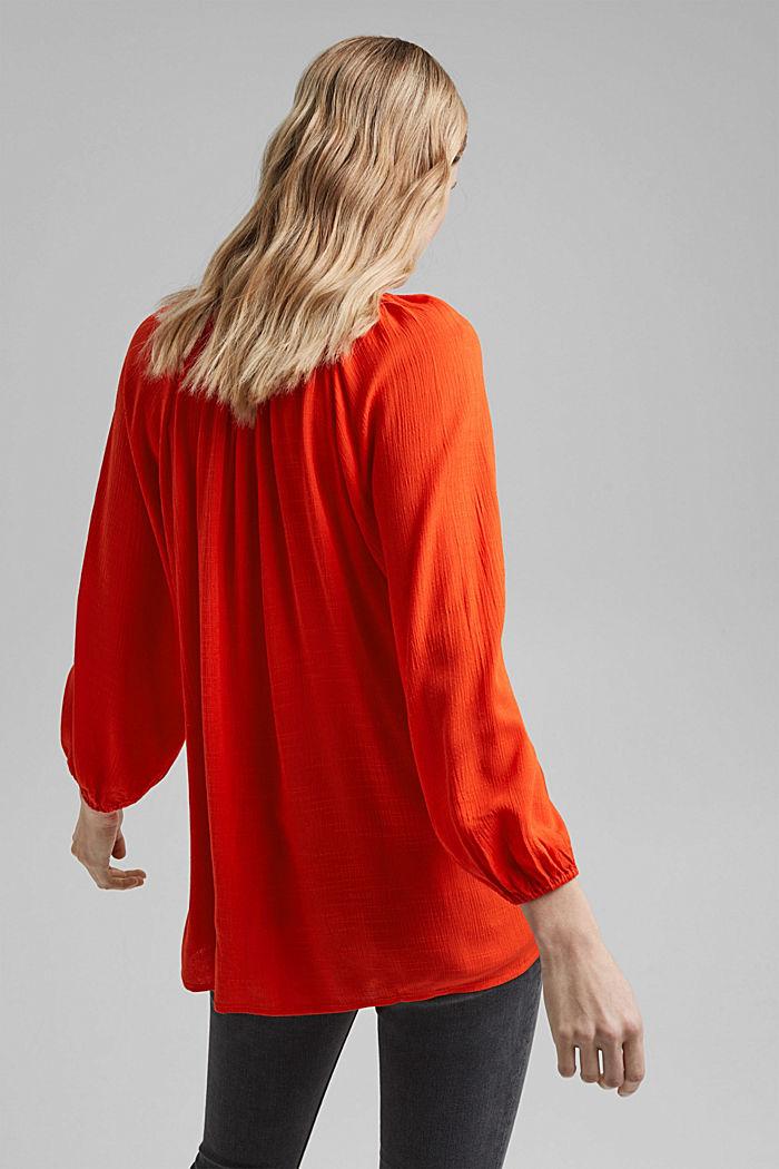 Crinkle blouse made of LENZING™ ECOVERO™, ORANGE RED, detail image number 3