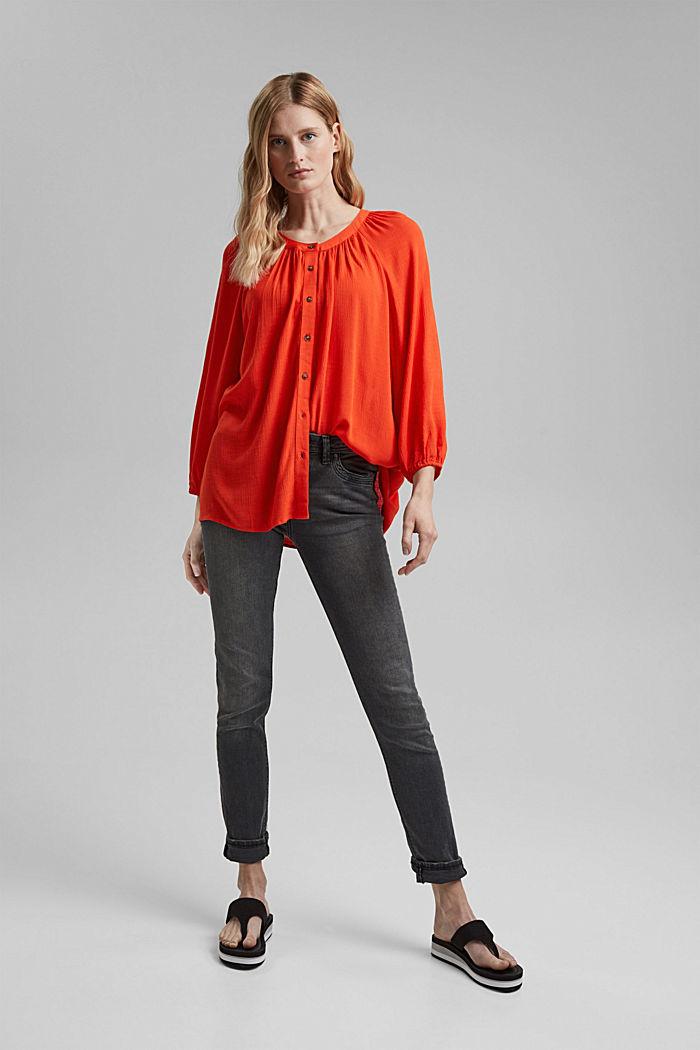 Crinkle blouse made of LENZING™ ECOVERO™, ORANGE RED, detail image number 1