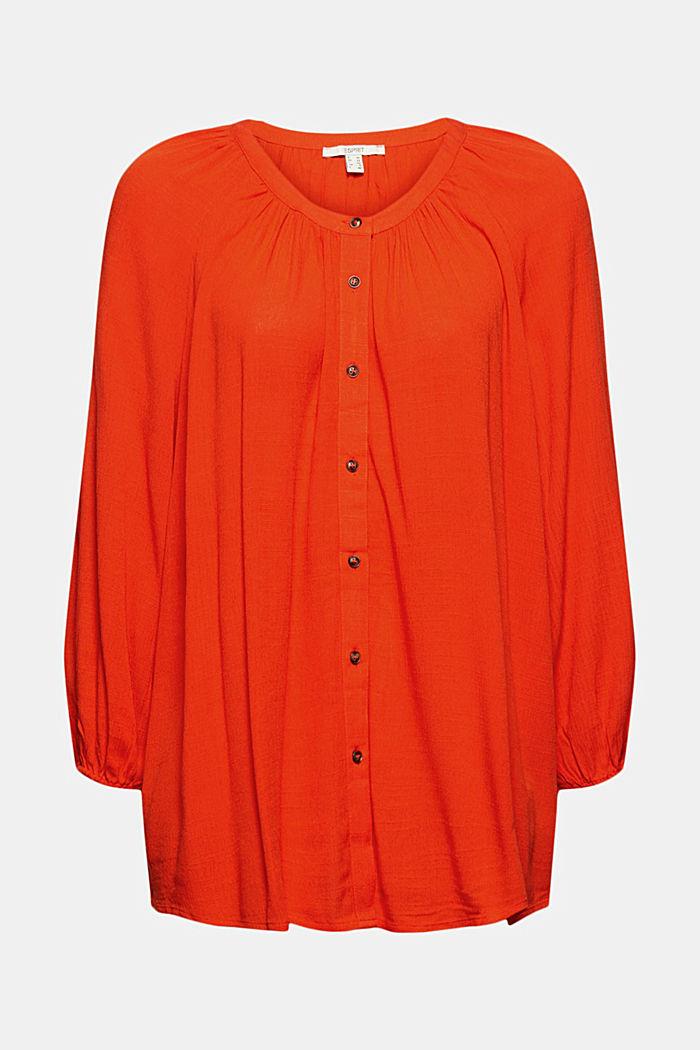Crinkle blouse made of LENZING™ ECOVERO™, ORANGE RED, detail image number 6