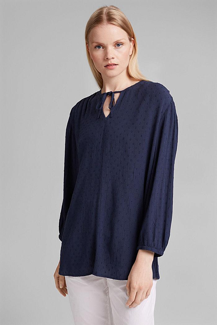 Viscose plumetis blouse, NAVY, detail image number 0