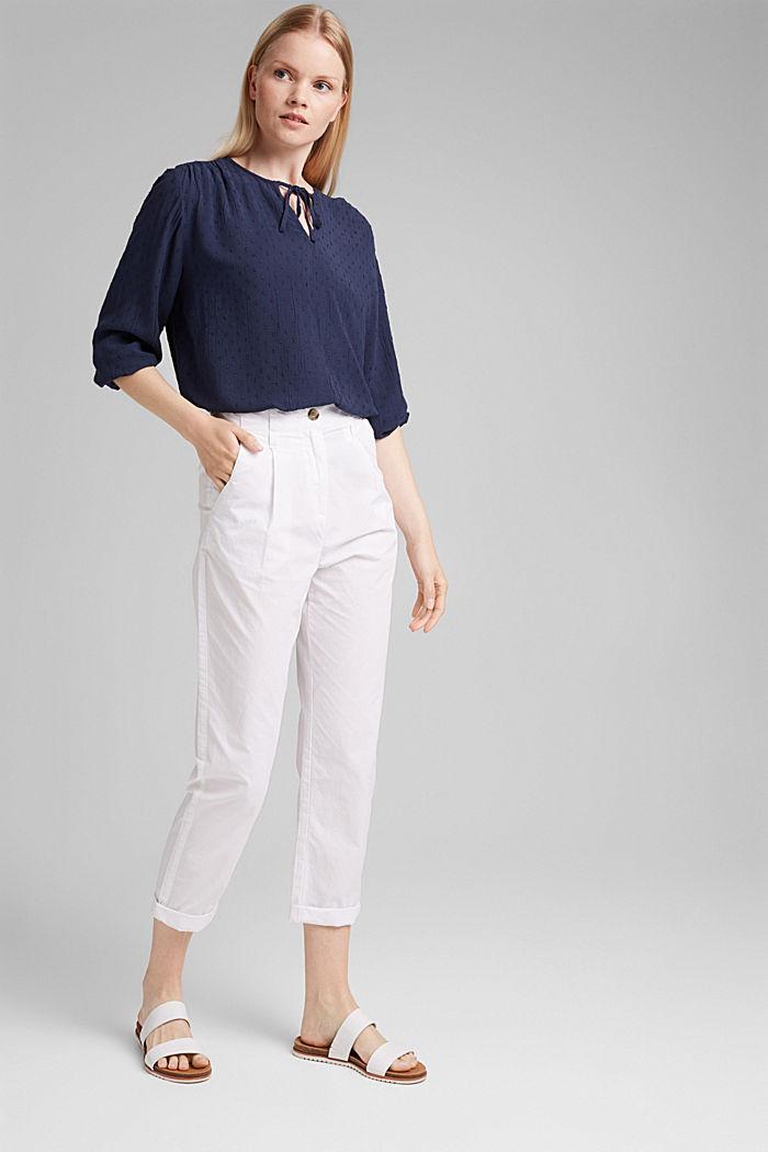 Viscose plumetis blouse, NAVY, detail image number 1