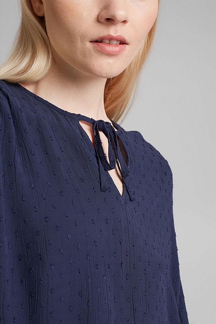 Viscose plumetis blouse, NAVY, detail image number 2