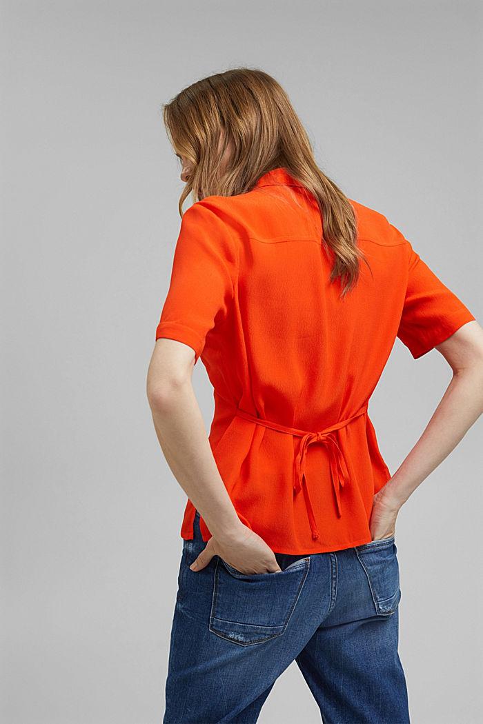 Overhemdblouse met korte mouwen en strikkoordjes, ORANGE RED, detail image number 3