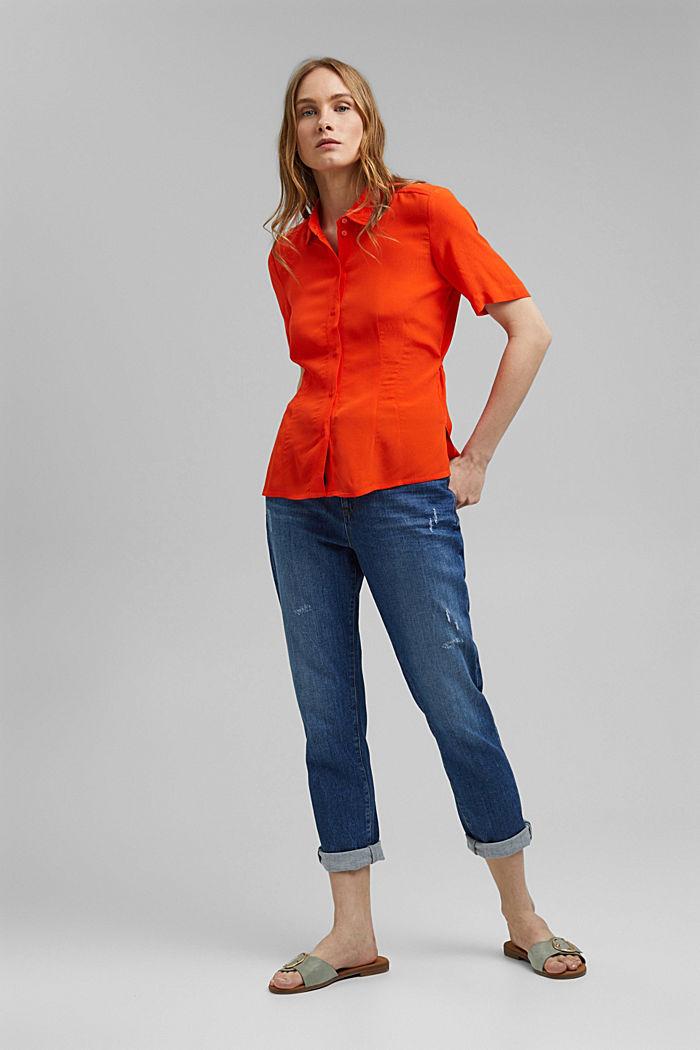 Overhemdblouse met korte mouwen en strikkoordjes, ORANGE RED, detail image number 8