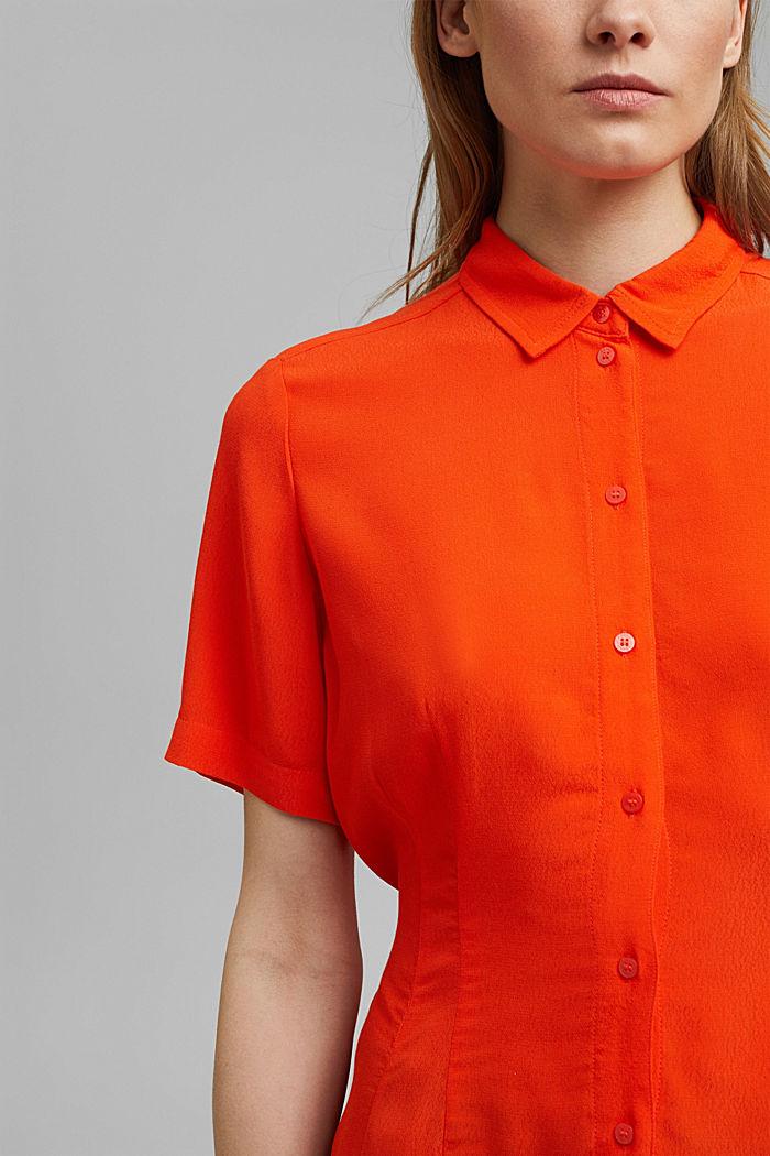 Overhemdblouse met korte mouwen en strikkoordjes, ORANGE RED, detail image number 2