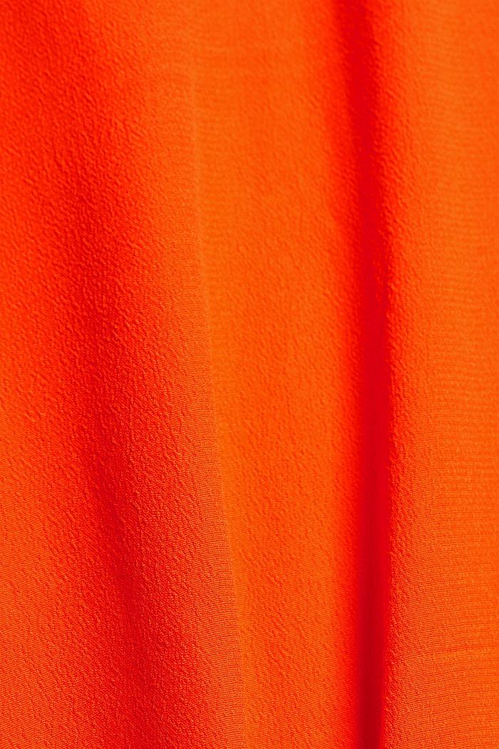 Overhemdblouse met korte mouwen en strikkoordjes, ORANGE RED, detail image number 4