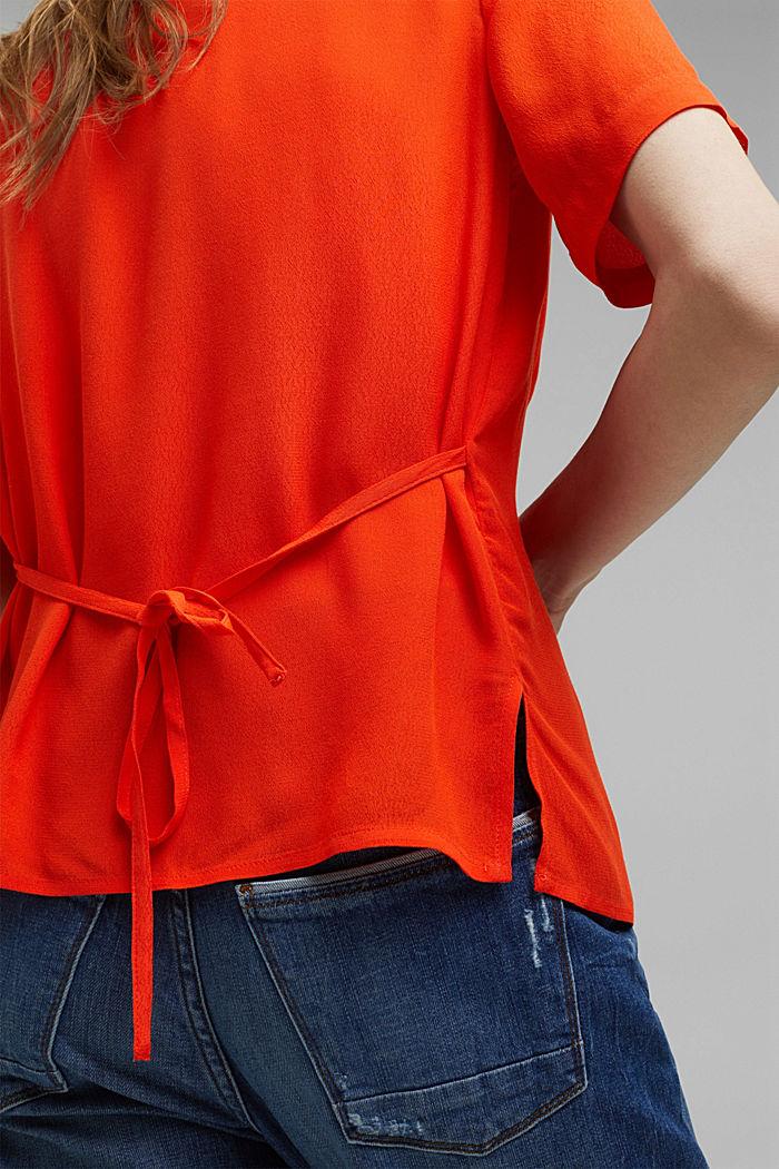 Overhemdblouse met korte mouwen en strikkoordjes, ORANGE RED, detail image number 5