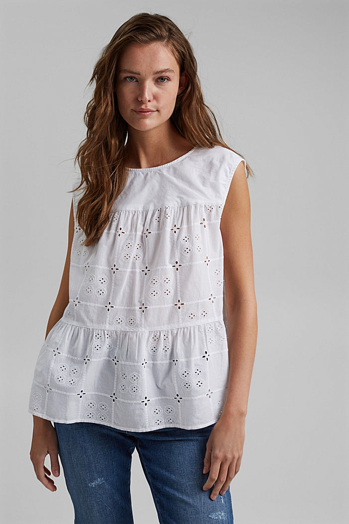 Blousetop met broderie anglaise, organic cotton