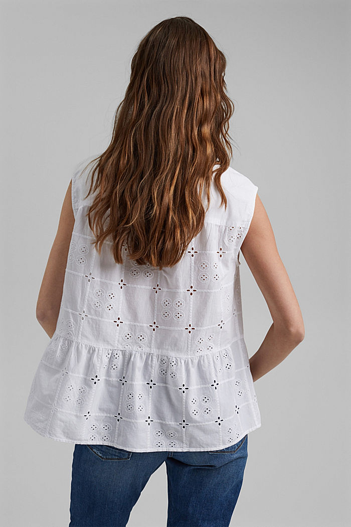 Blousetop met broderie anglaise, organic cotton, WHITE, detail image number 3