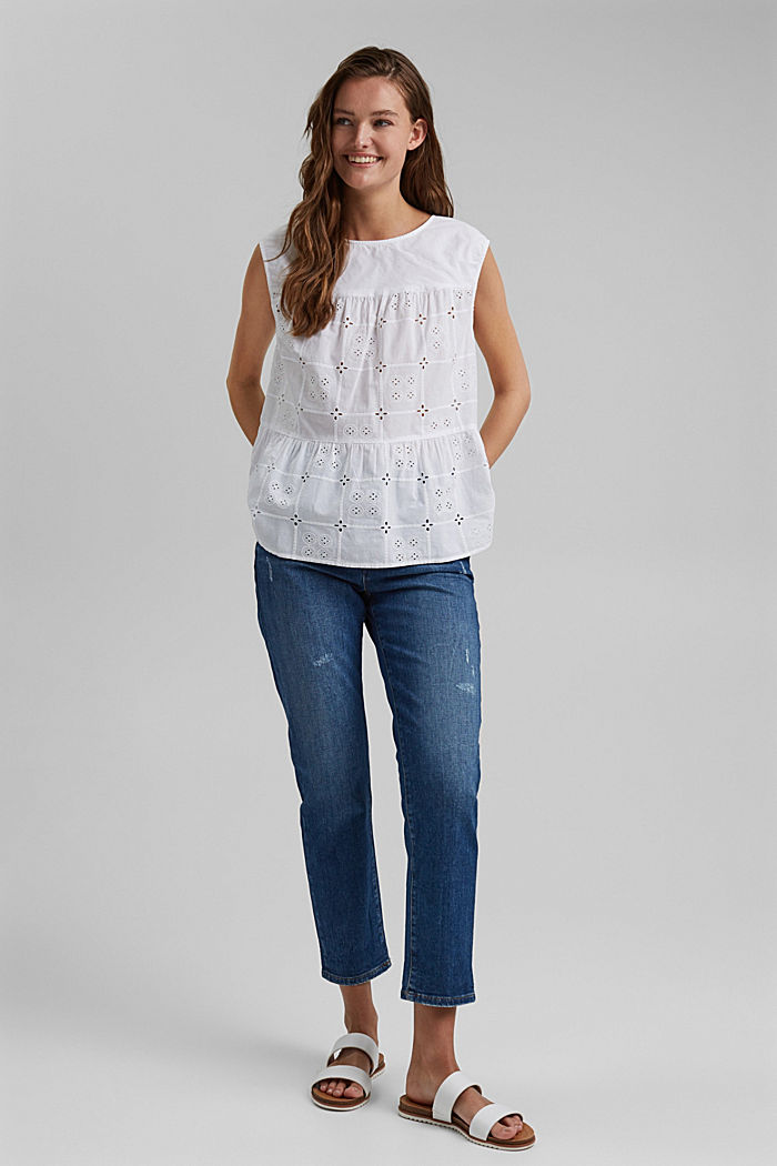 Blousetop met broderie anglaise, organic cotton, WHITE, detail image number 1