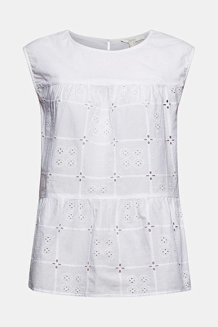 Top façon blouse orné de broderie anglaise, en coton biologique