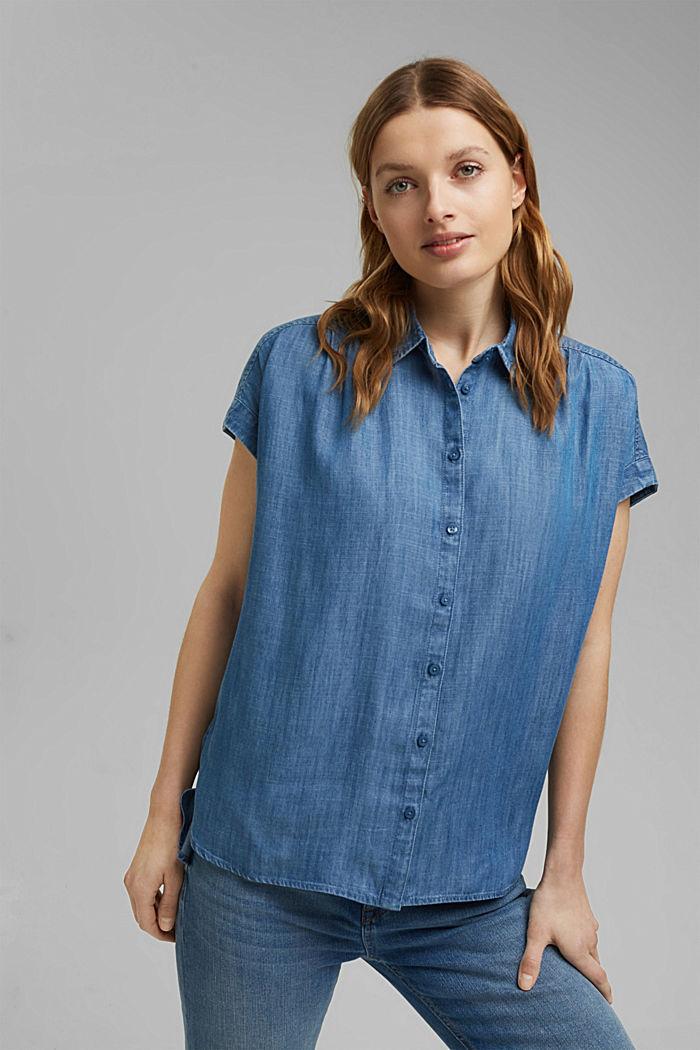Aus TENCEL™: Bluse im Denimlook, BLUE MEDIUM WASHED, detail image number 0