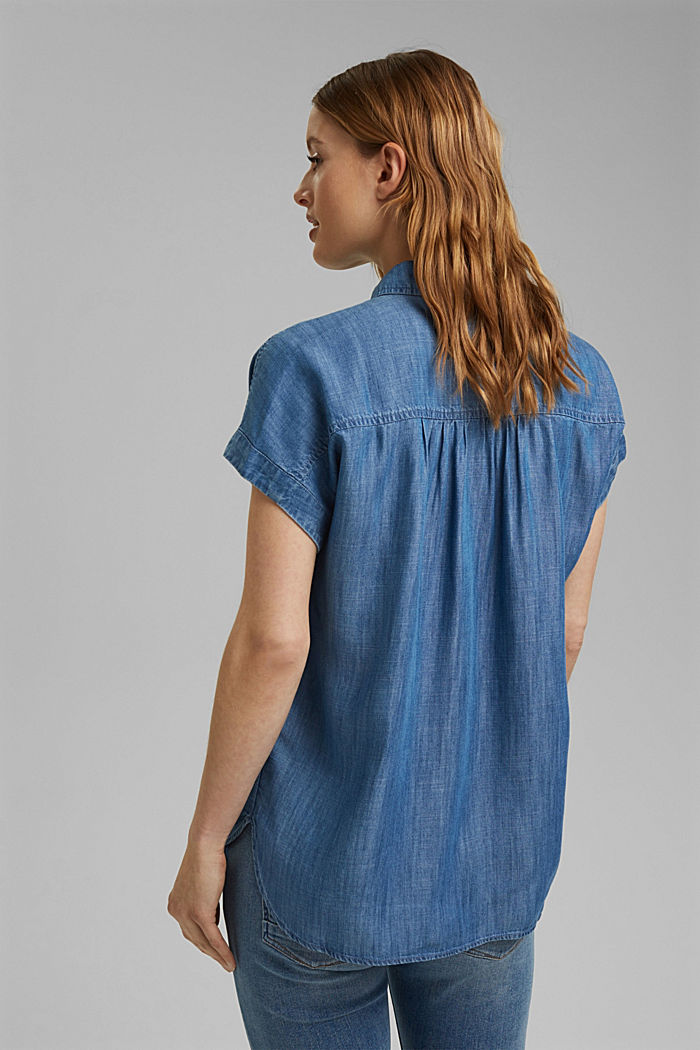 Aus TENCEL™: Bluse im Denimlook, BLUE MEDIUM WASHED, detail image number 3