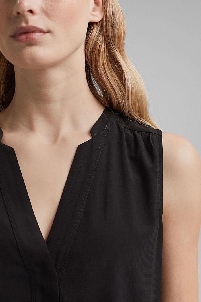Top blusato con LENZING™ ECOVERO™, BLACK, detail image number 2