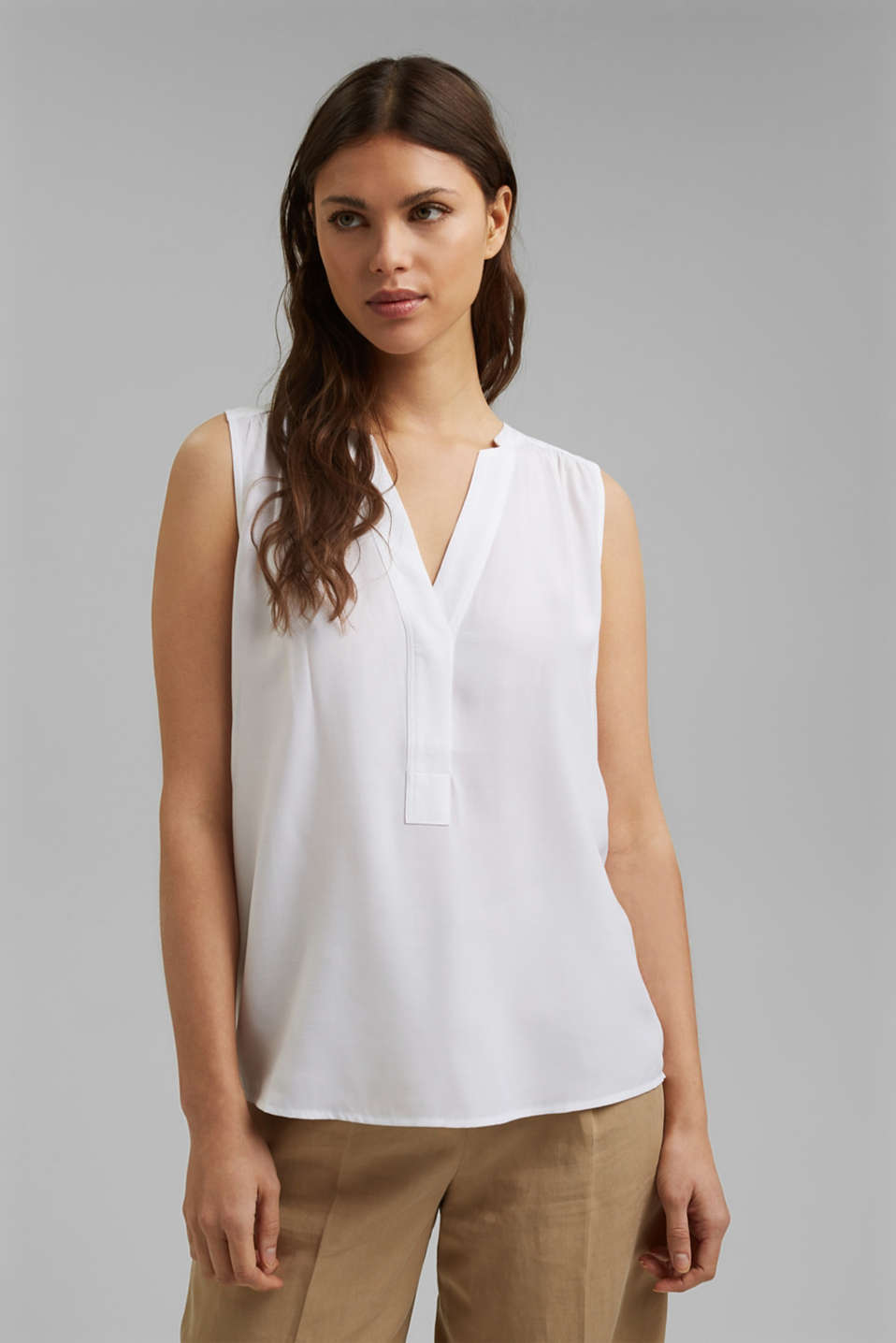 Esprit - Blouse top with LENZING™ ECOVERO™