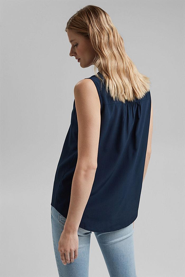 Top façon blouse à teneur en fibres LENZING™ ECOVERO™, NAVY, detail image number 3
