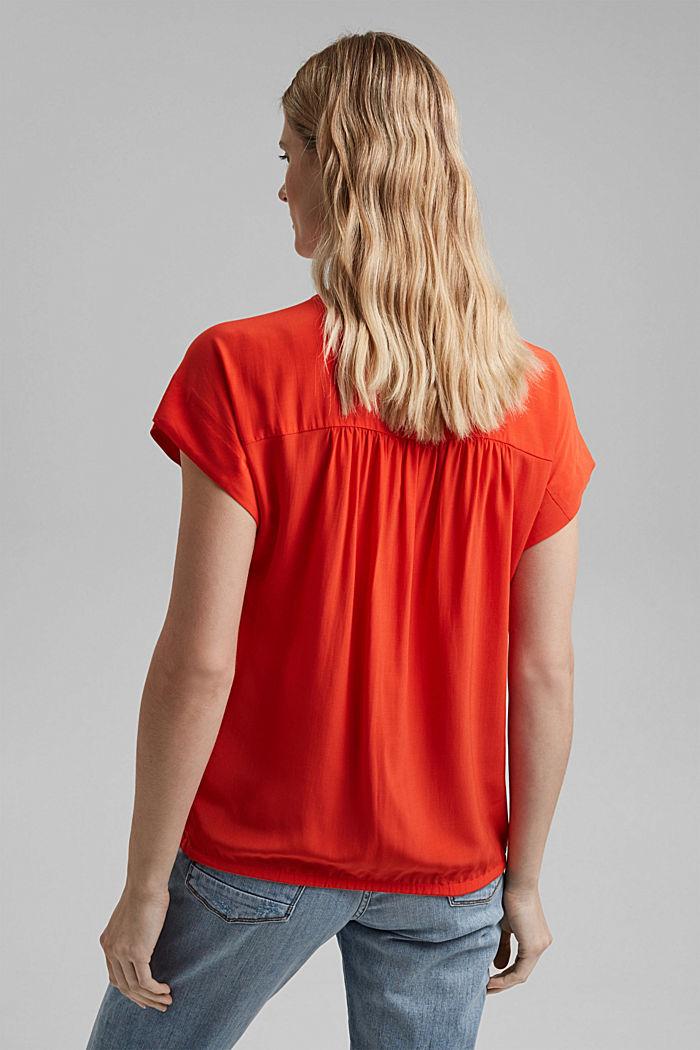 Top façon blouse à teneur en LENZING™ ECOVERO™, ORANGE RED, detail image number 3