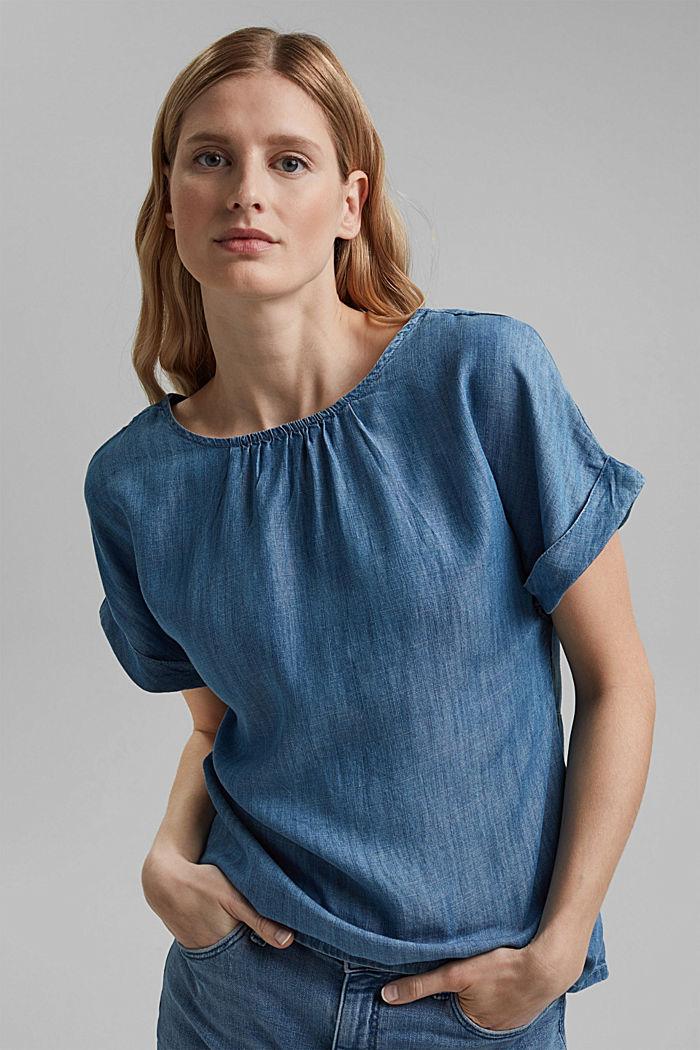 Made of TENCEL™: Denim-look blouse, BLUE MEDIUM WASHED, detail image number 0