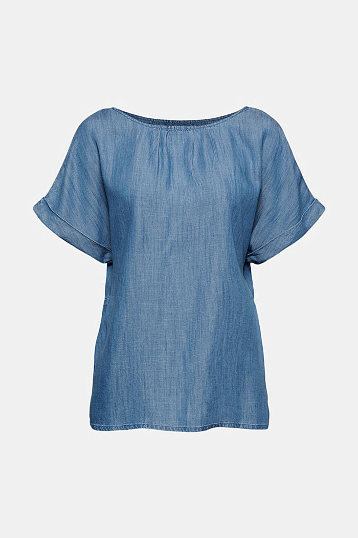 Aus TENCEL™: Bluse im Denim-Look