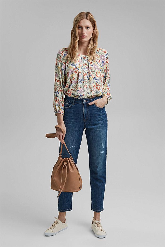 Crinkle-blouse met millefleursprint, OFF WHITE, detail image number 1