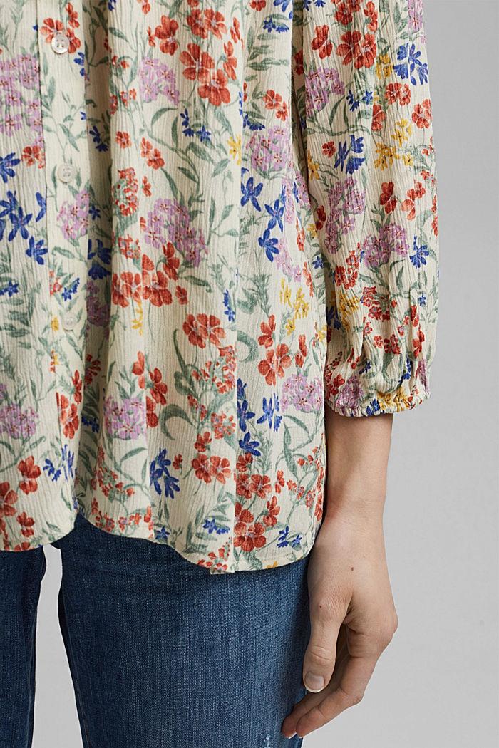 Crinkle-blouse met millefleursprint, OFF WHITE, detail image number 5
