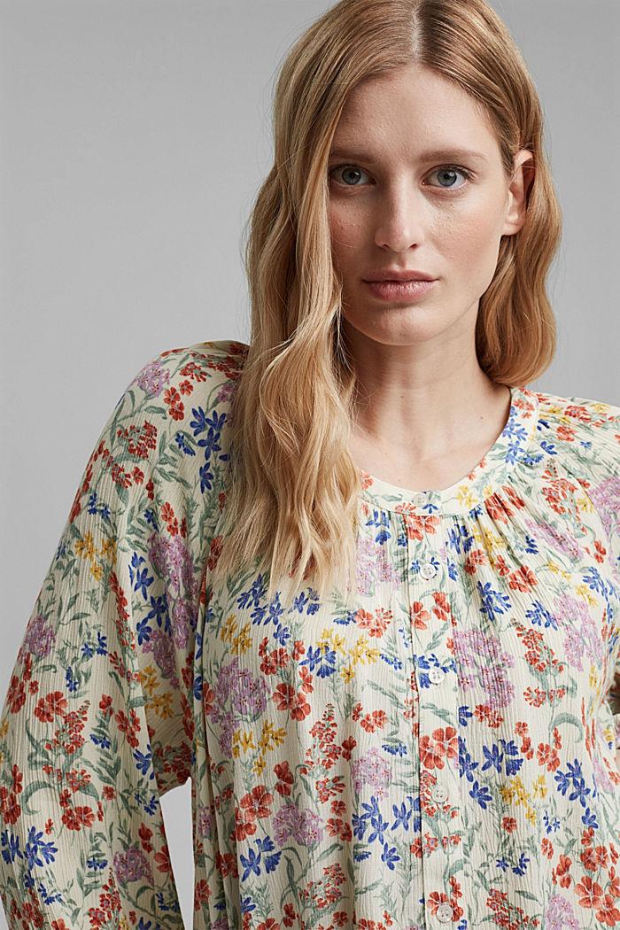 Crinkle-blouse met millefleursprint, OFF WHITE, detail image number 6