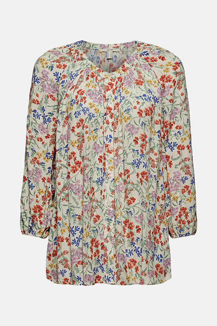 Blusa con efecto arrugado y estampado de flores