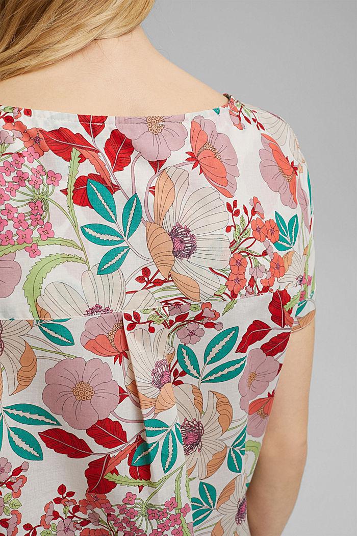Blouse met korte mouwen en bloemenprint, OFF WHITE, detail image number 2