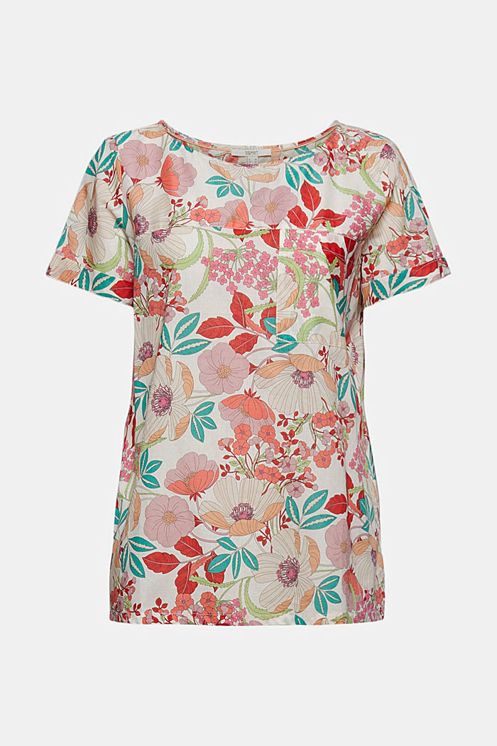 Short sleeve blouse with floral print