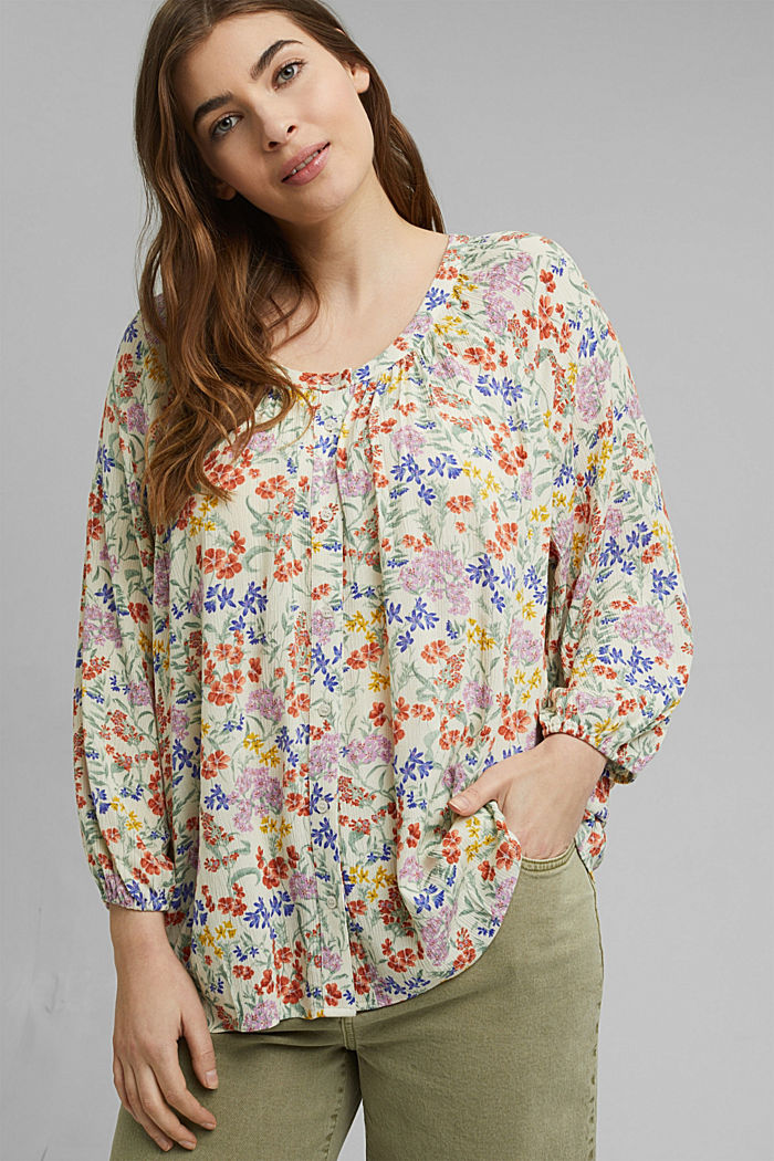 CURVY Print-Bluse aus LENZING™ ECOVERO™, OFF WHITE, detail image number 0