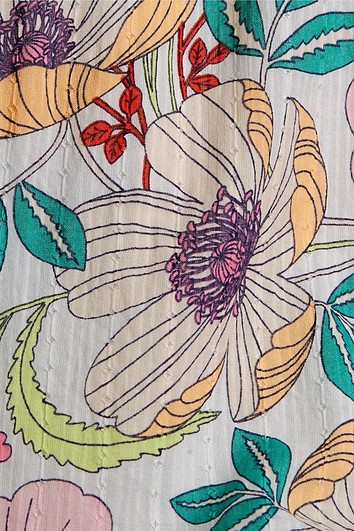 Chemisier à imprimé floral, 100% coton bio, OFF WHITE, detail image number 4
