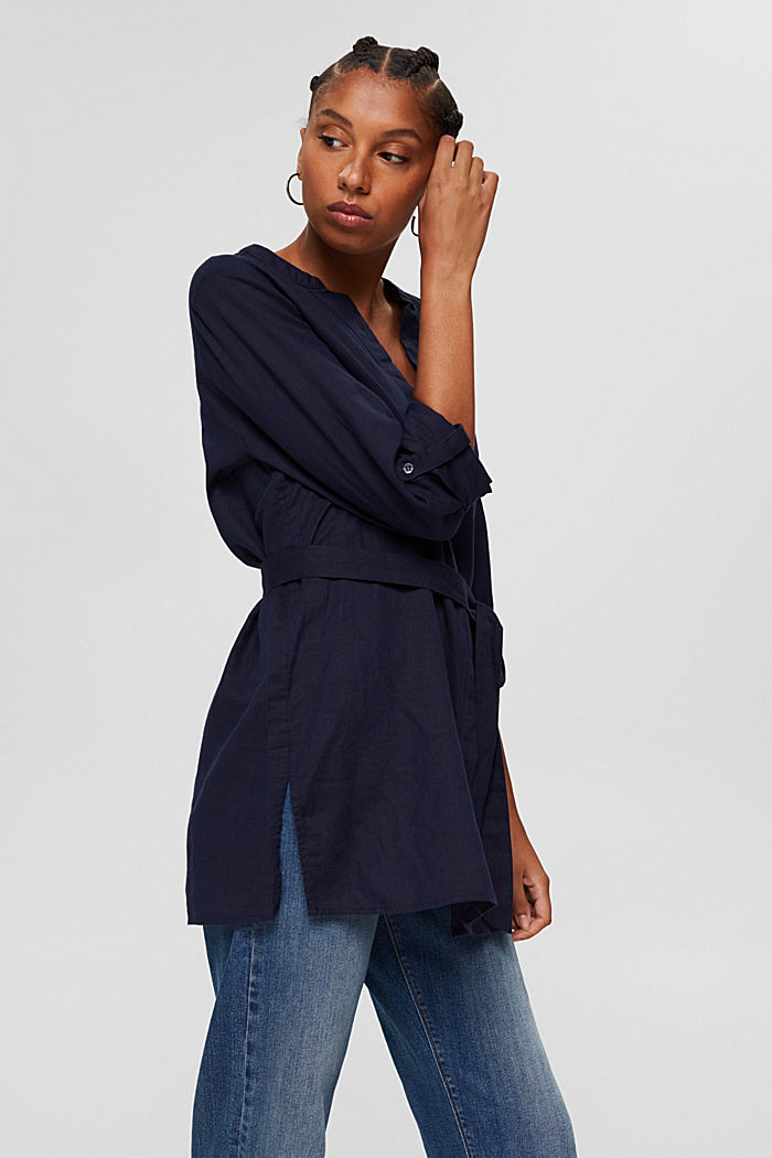 Long blouse with a belt in blended linen, NAVY, detail image number 0