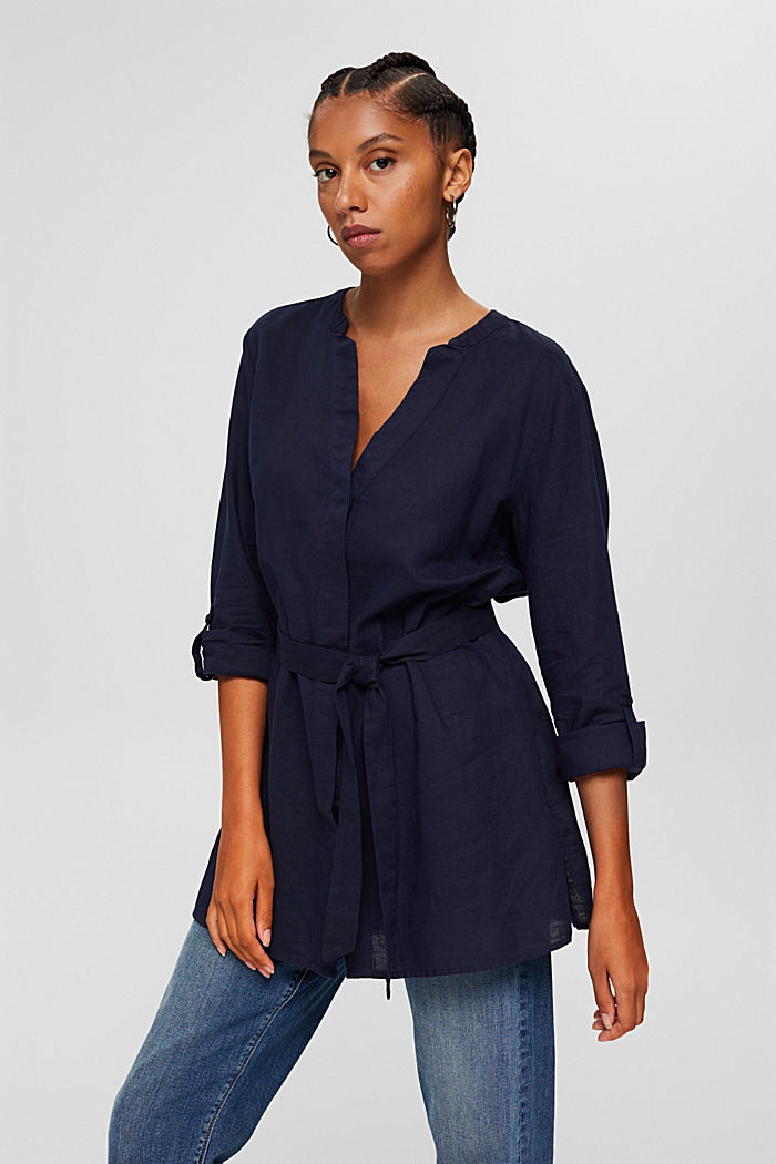 Long blouse with a belt in blended linen, NAVY, detail image number 5