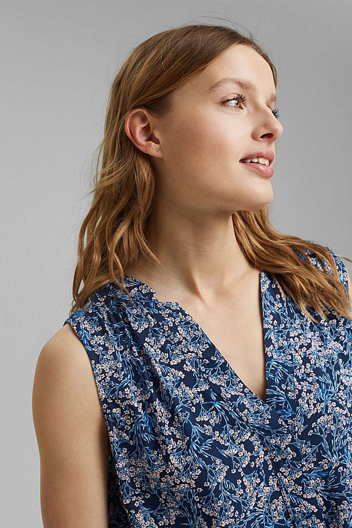 Top façon blouse à imprimé, NAVY, detail image number 6